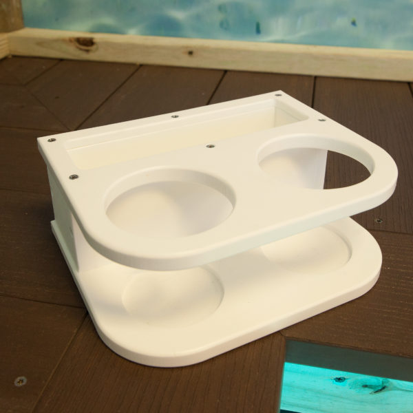 white double cup holder, white yeti cup holder, boat cup holder