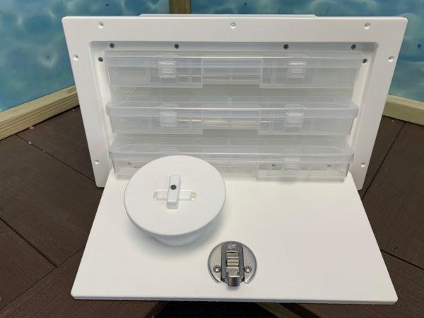 plano tackle box holder, fishing accessories organizer, starboard organizer